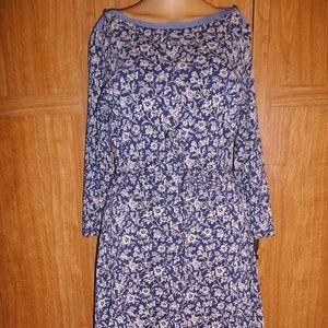 Ralph Lauren Boat Neck Fit-n-Flair Print Dress